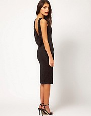 ASOS Midi Lace Bodycon Dress With Cowl Back