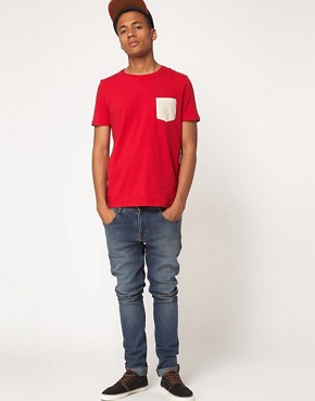 Image 4 ofASOS T-Shirt With Printed Woven Pocket