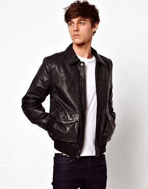 Image 1 ofASOS Leather Bomber Jacket