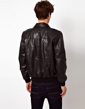 Image 2 ofASOS Leather Bomber Jacket