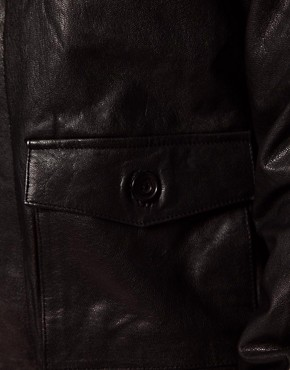 Image 3 ofASOS Leather Bomber Jacket