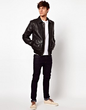 Image 4 ofASOS Leather Bomber Jacket