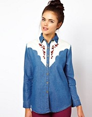 Dahlia Denim Shirt with Western Embroidery