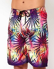 Wave Rock Neon Leaves Board Shorts