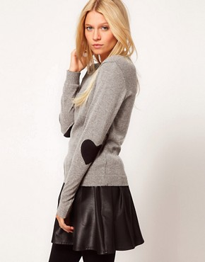 Image 1 of ASOS Heart Elbow Patch Jumper