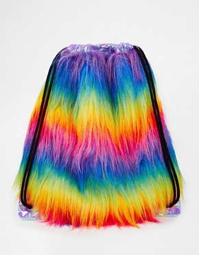 The Ragged Priest Faux Fur Multicoloured Stripe Drawstring Backpack