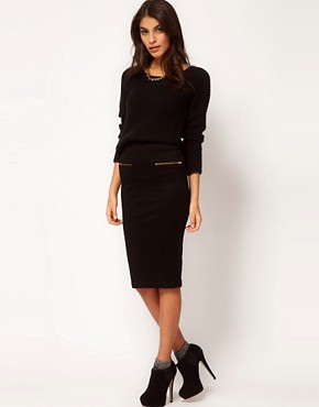 Image 1 ofASOS Ponte Pencil Skirt with Zips