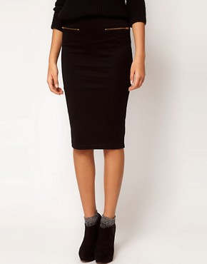 Image 4 ofASOS Ponte Pencil Skirt with Zips