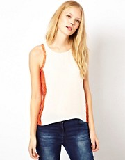 Selected Capri Silk Tank Top with Lace Insert Details