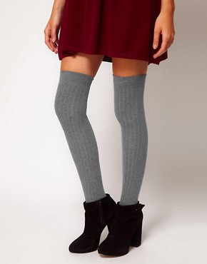 Image 1 ofASOS Ribbed Over The Knee Sock