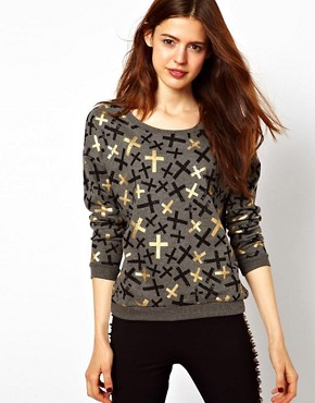 Image 1 ofASOS Sweatshirt with Metallic Crosses