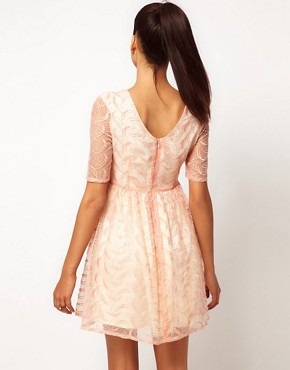 Image 2 ofJarlo Embroidered Organza Fit And Flare Dress