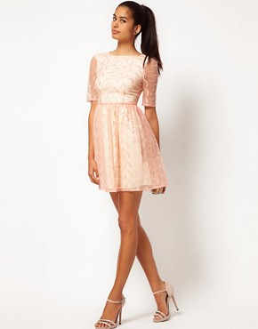 Image 4 ofJarlo Embroidered Organza Fit And Flare Dress
