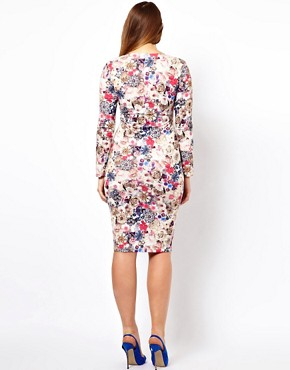 Image 2 ofASOS CURVE Midi Bodycon Dress in Jewel Flower Print