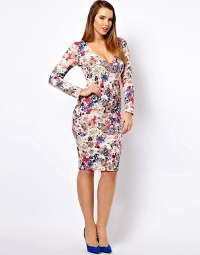 Image 4 ofASOS CURVE Midi Bodycon Dress in Jewel Flower Print