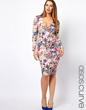 Image 1 ofASOS CURVE Midi Bodycon Dress in Jewel Flower Print