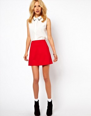 Image 1 ofASOS A-Line Skirt in Ponte