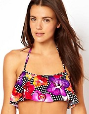 ASOS Floral Graphic Floaty Crop Bikini Top
