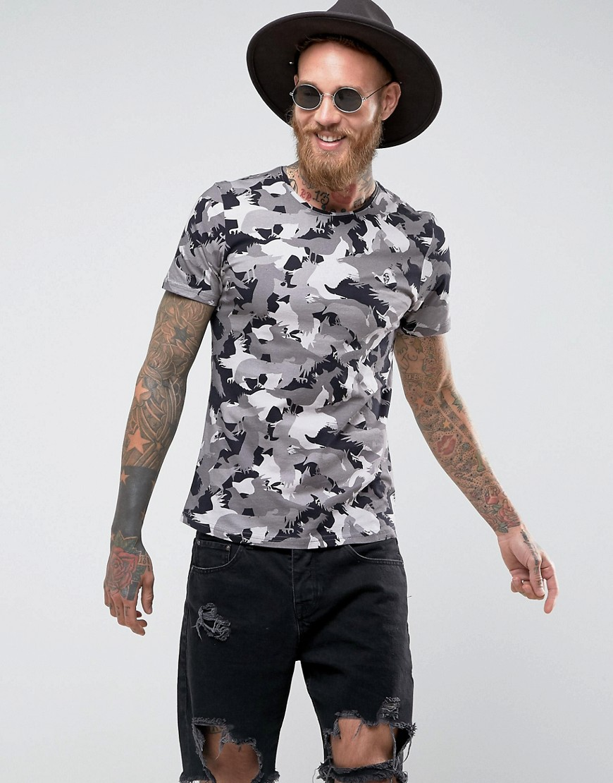 Noose & Monkey Muscle Fit T-Shirt in Camo Print - Grey