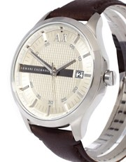 Armani Exchange Watch With Leather Strap AX2100