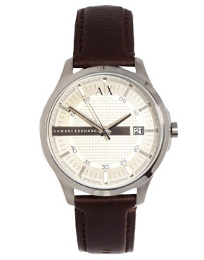 Image 2 of Armani Exchange Watch With Leather Strap AX2100