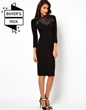 Image 1 ofASOS Midi Dress With Studding And Jewels