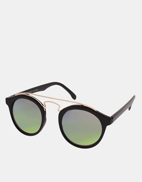 Image 1 ofASOS Round Sunglasses with Metal Bridge Detail and Revo Lens