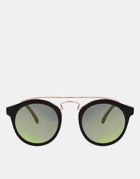 Image 2 ofASOS Round Sunglasses with Metal Bridge Detail and Revo Lens