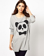 White Chocoolate - Top drappeggiato con panda stampato