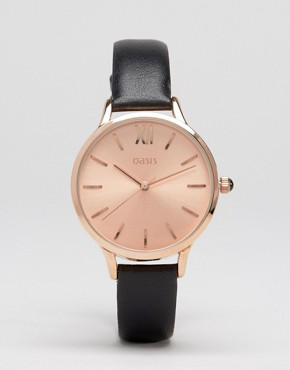 Oasis Black Leather & Rose Gold Watch