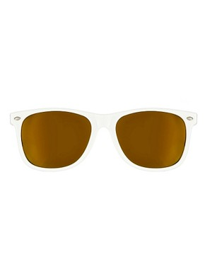 Image 2 ofASOS White Wayfarer with Gold Mirror Lens