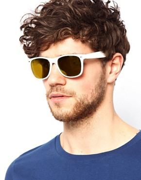Image 3 ofASOS White Wayfarer with Gold Mirror Lens