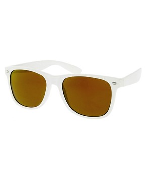 Image 1 ofASOS White Wayfarer with Gold Mirror Lens