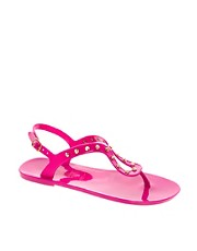New Look Jiggle Studded Pink Jelly Sandals