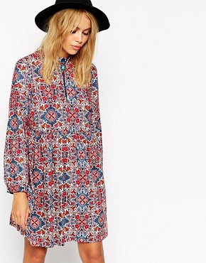 ASOS Reclaimed Vintage Smock Dress With High Neck In Geo Print