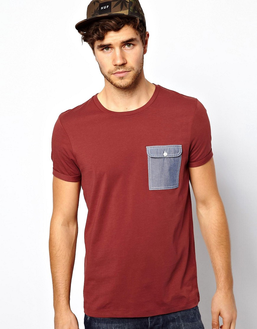 Image 1 ofASOS T-Shirt With Oxford Pocket And Roll Sleeve