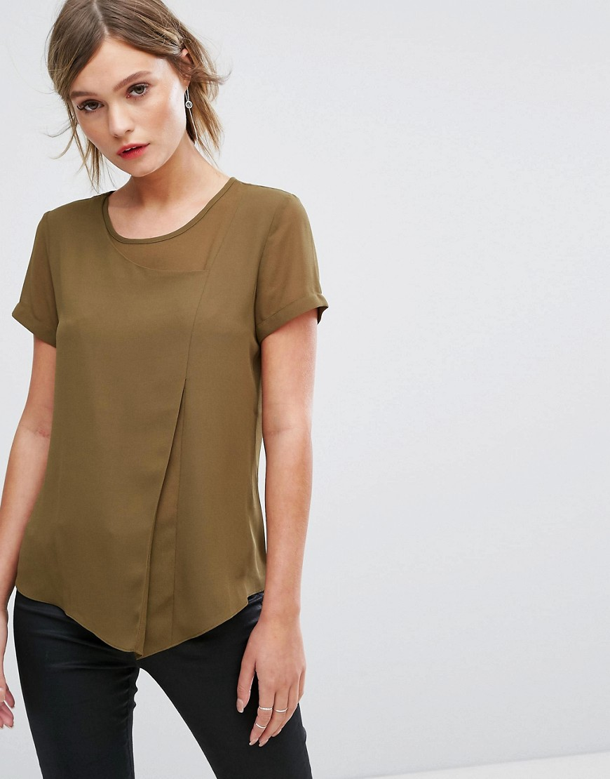 Sisley Layered Top With Sheer Elements - Khaki green