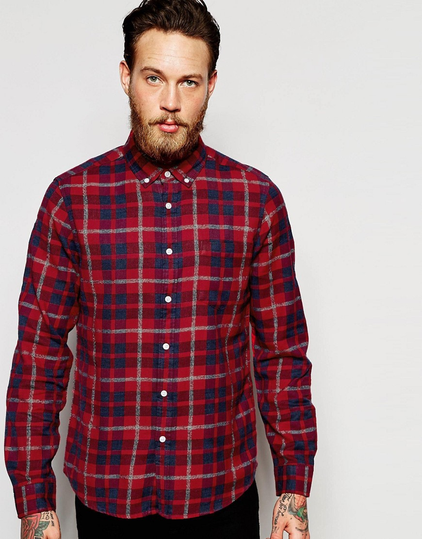 ASOS Marl Shirt With Madras Check In Red With Long Sleeves In Regular