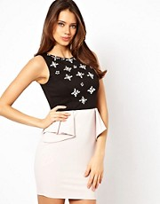 Lipsy Peplum Dress with Jewelled Bodice