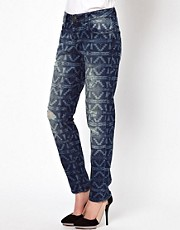 ASOS Boyfriend Jeans in Distressed Mexicana Laser Print