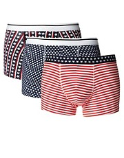 ASOS Three Pack Trunks With Stars And Stripes