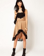 Thirty Four Disciples Hi Lo Lace Trim Dress