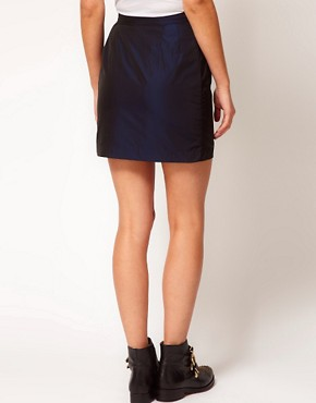 Image 2 ofWhite Tent Mini Skirt In Navy Taffeta