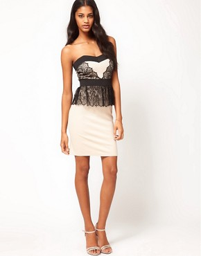 Image 4 ofLittle Mistress Lace Layered Bandeau Peplum Dress