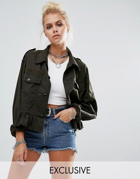 Milk It Vintage Cropped Military Jacket With Frill Hem