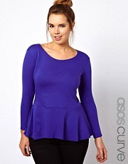 ASOS CURVE Exclusive Top With Soft Peplum