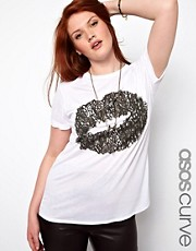 ASOS CURVE Exclusive T-Shirt with Graffiti Lips
