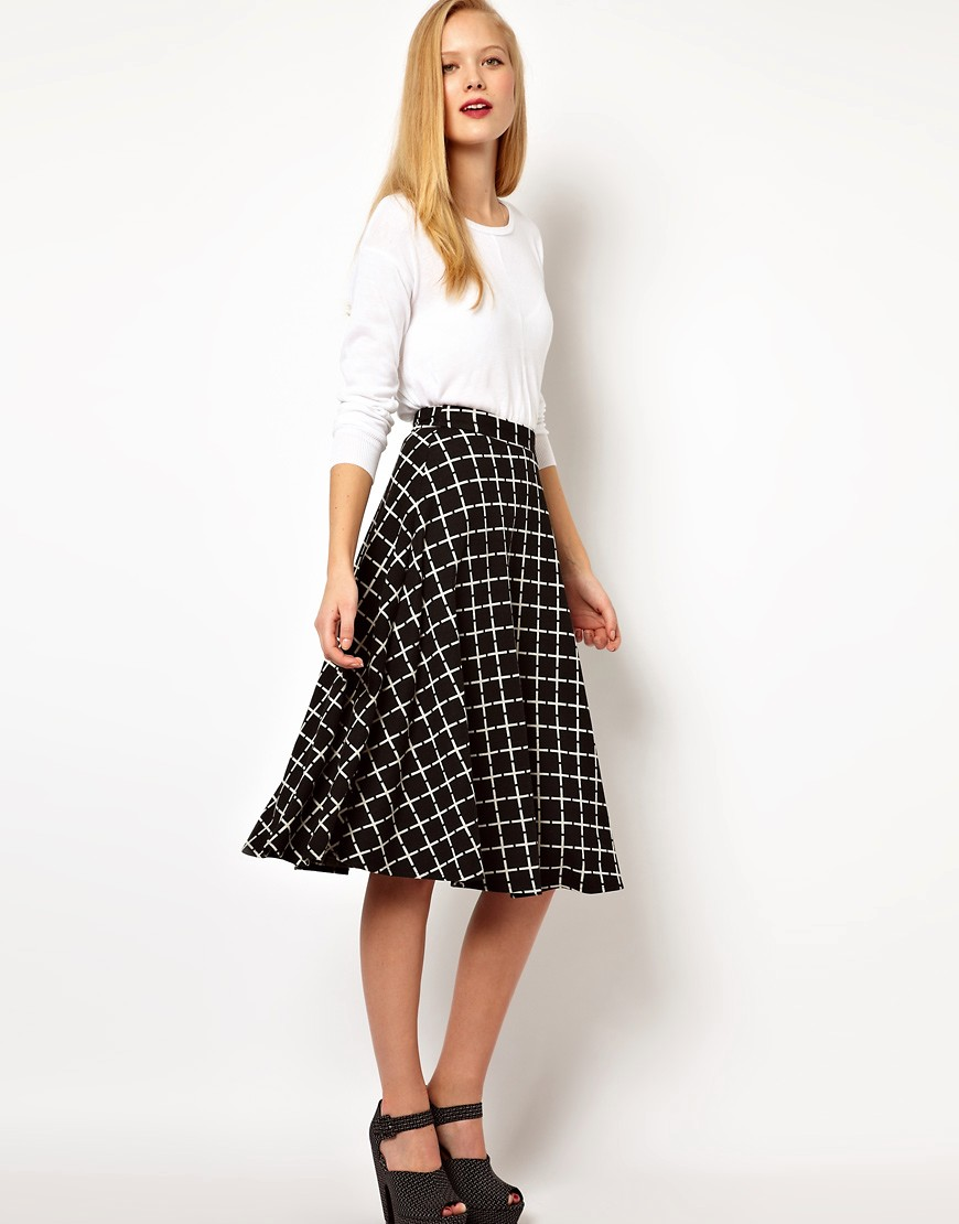 Image 1 of ASOS Midi Skirt In Ponte Check
