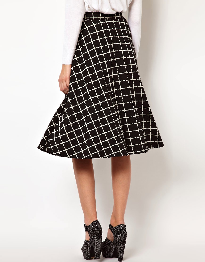 Image 2 of ASOS Midi Skirt In Ponte Check