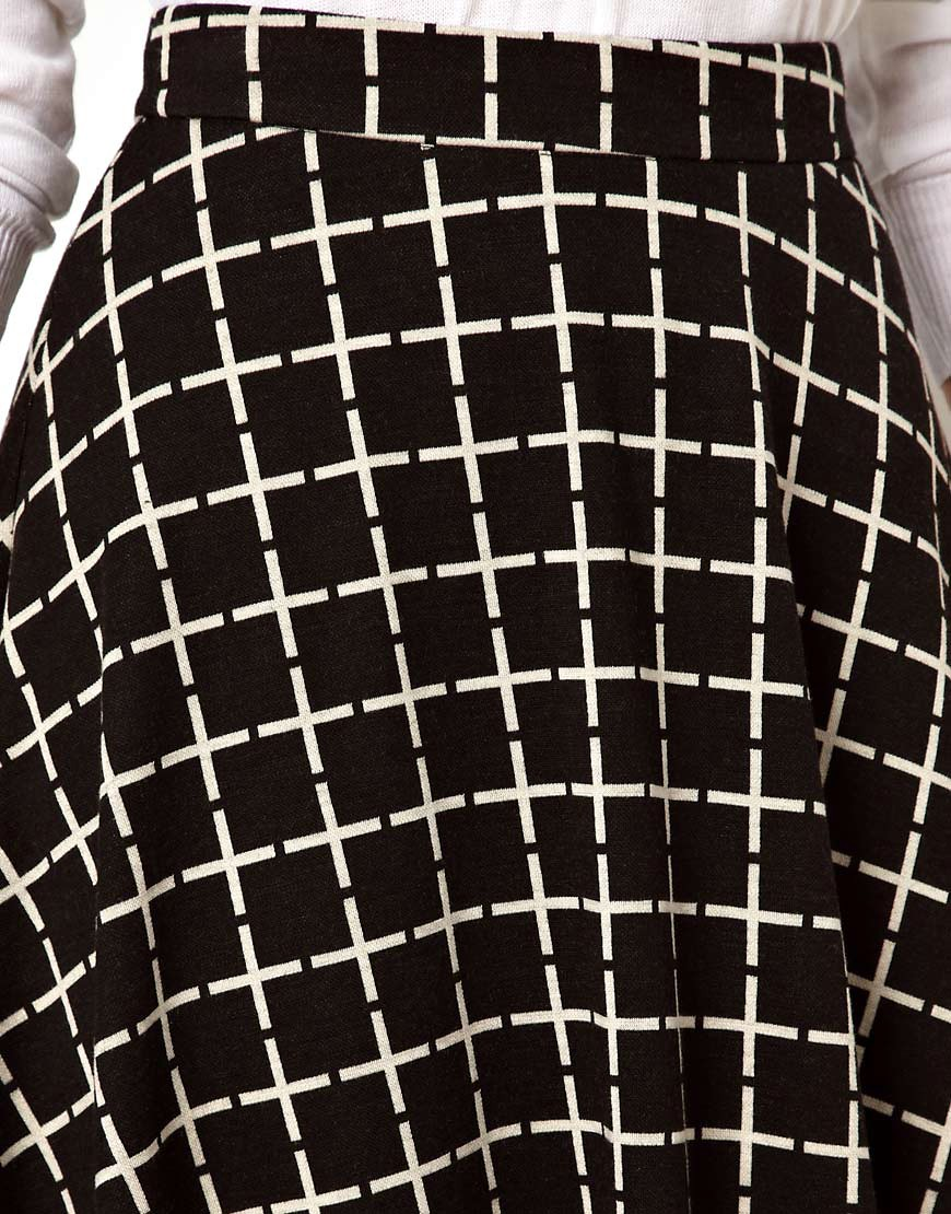 Image 3 of ASOS Midi Skirt In Ponte Check